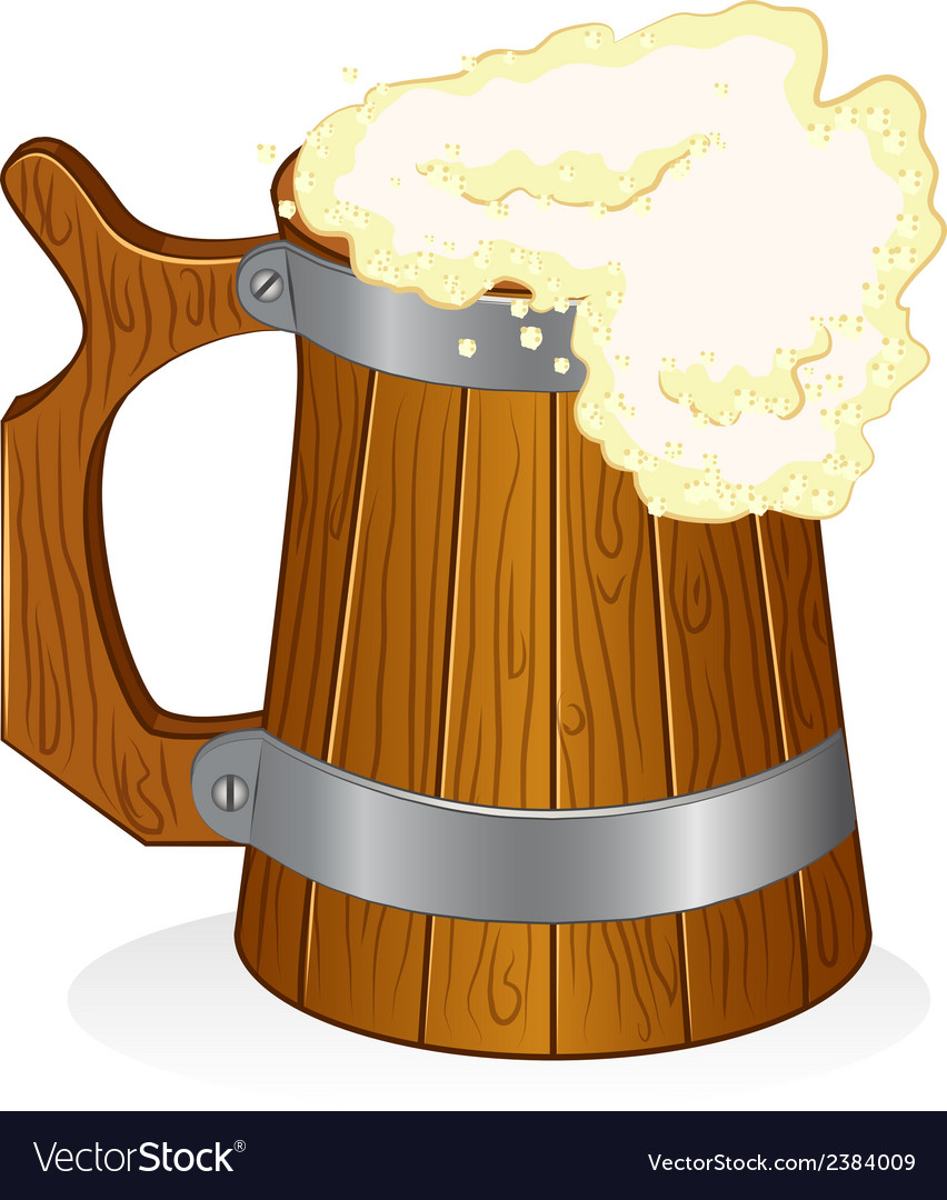 Wooden beer mug on isolated background vector | Price: 1 Credit (USD $1)