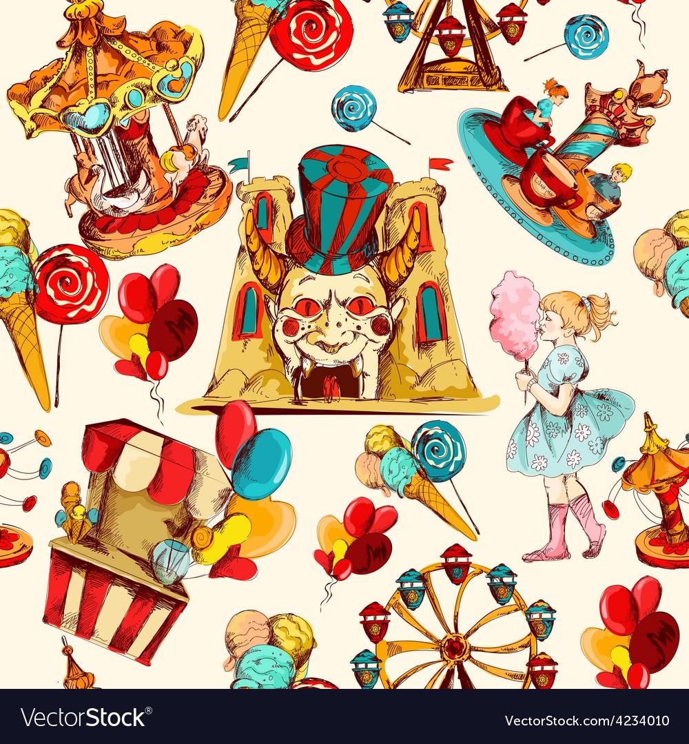 Amusement park seamless vector | Price: 1 Credit (USD $1)