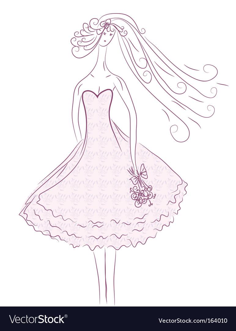Bride sketch in pink colors vector | Price: 1 Credit (USD $1)