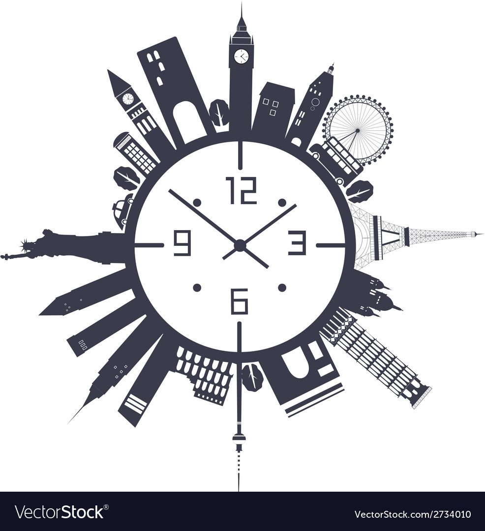 Clock in black and white vector | Price: 1 Credit (USD $1)