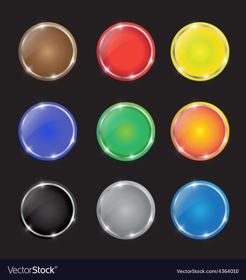 Color button with sparkles vector | Price: 1 Credit (USD $1)