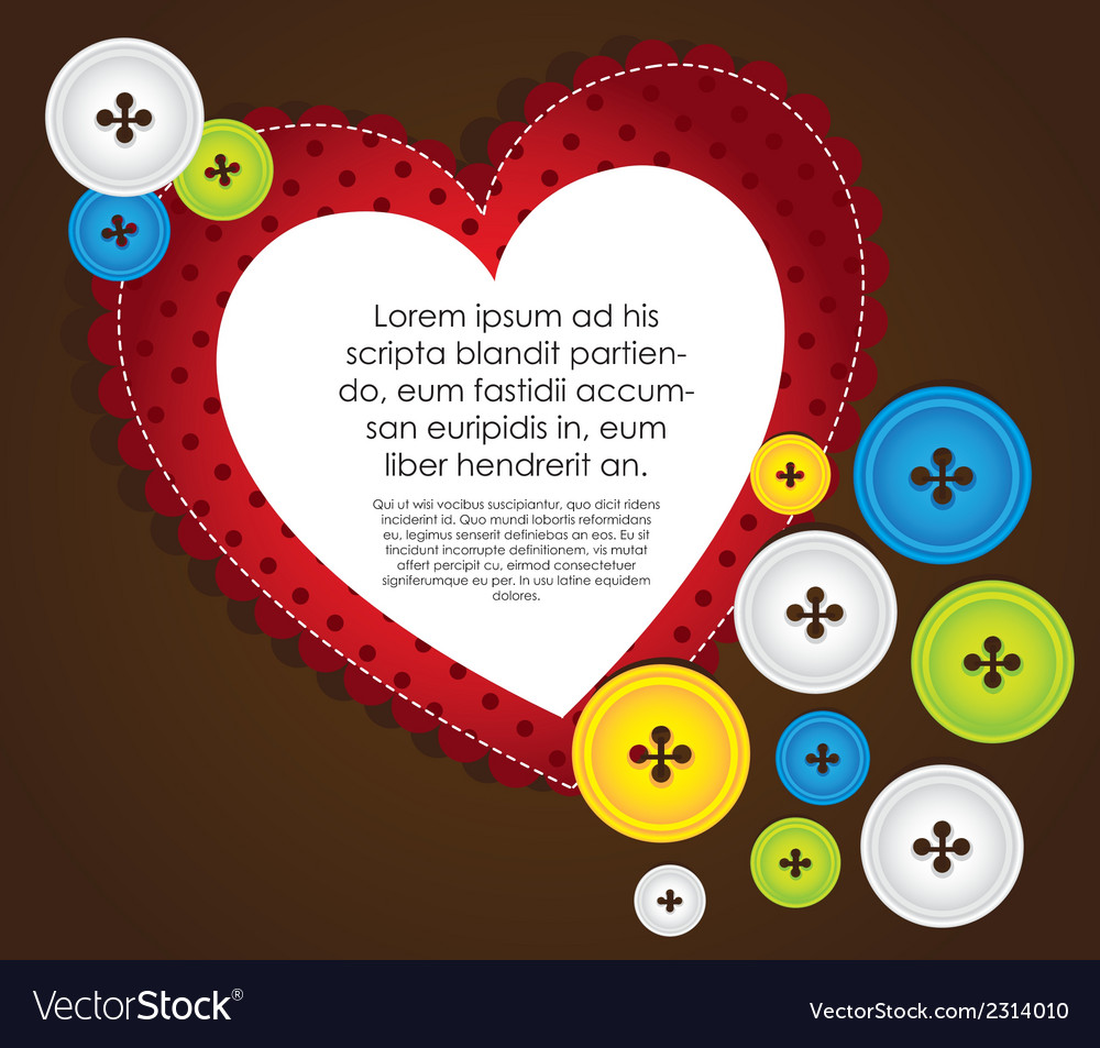 Heart with clothing buttons and balloon text vector | Price: 1 Credit (USD $1)
