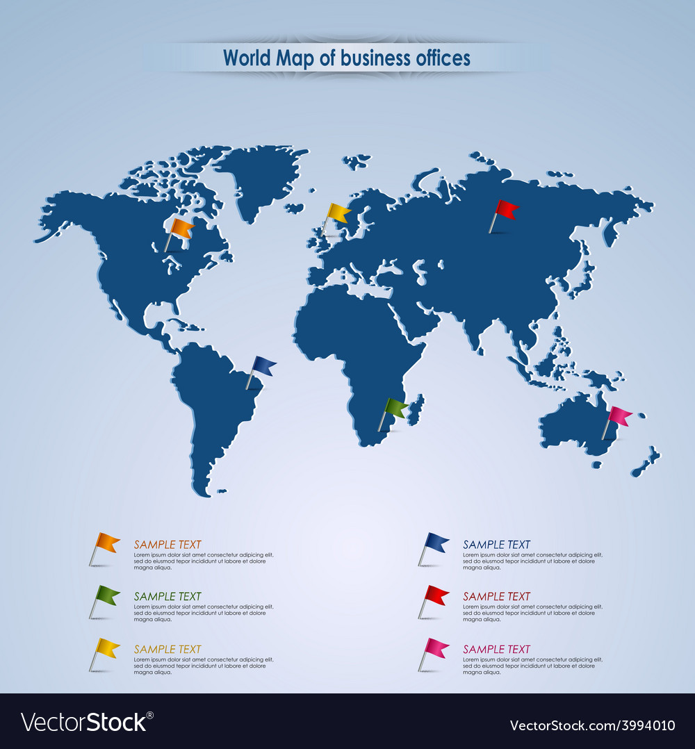 World map of business offices template vector | Price: 1 Credit (USD $1)