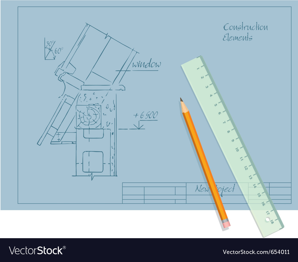 Architect draft pencil and ruler vector | Price: 1 Credit (USD $1)