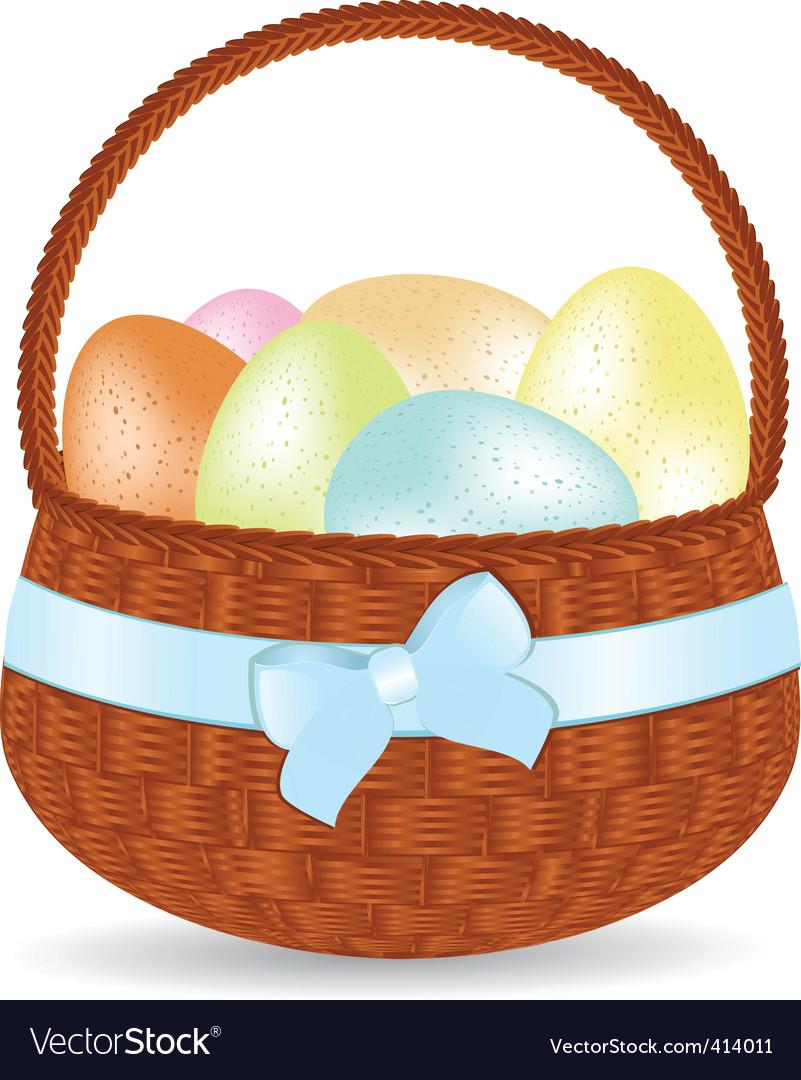 Basket of speckled easter eggs vector | Price: 1 Credit (USD $1)