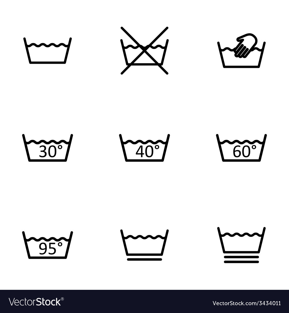 Black washing signs icon set vector | Price: 1 Credit (USD $1)