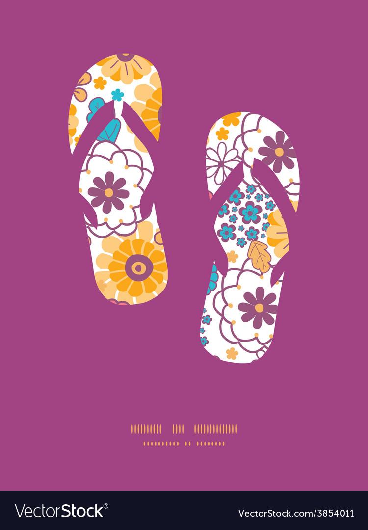 Colorful oriental flowers flip flops vector | Price: 1 Credit (USD $1)