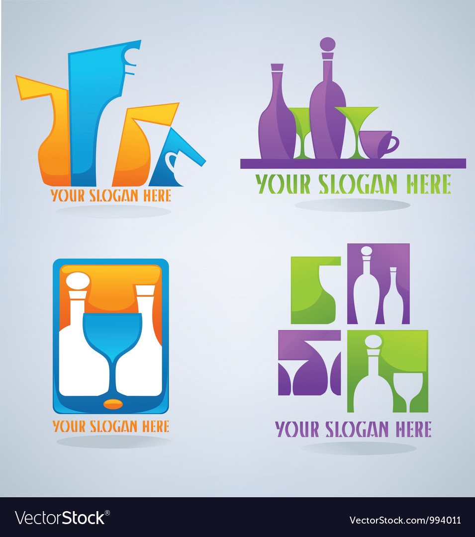 Ollection of wine glass cocktail and coffee symb vector | Price: 1 Credit (USD $1)
