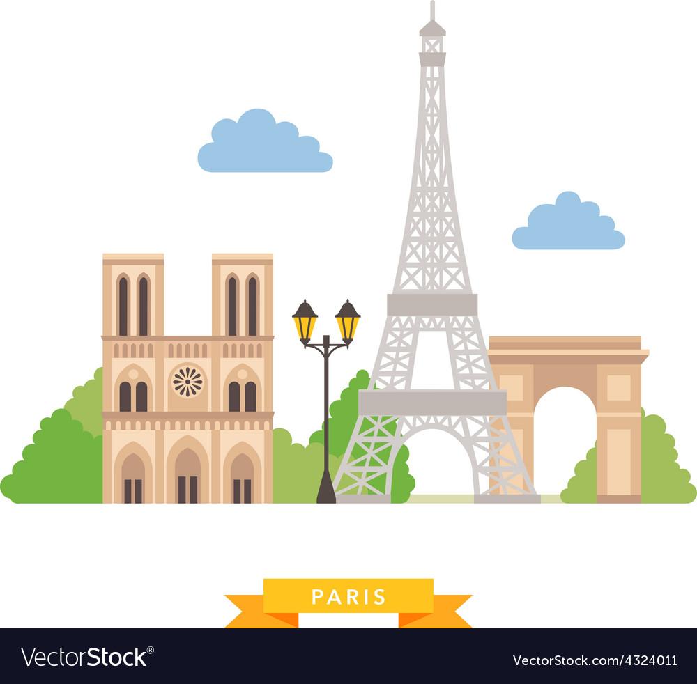 Paris flat background vector | Price: 1 Credit (USD $1)