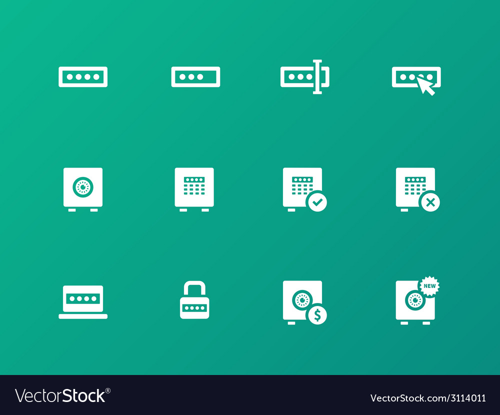 Password icons on green background vector | Price: 1 Credit (USD $1)