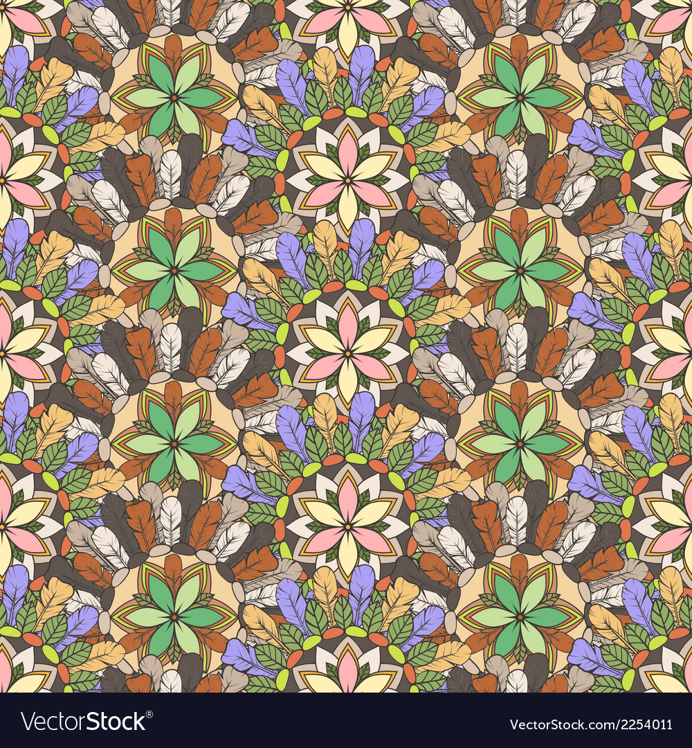 Seamless pattern of feathers leafs and flowers vector | Price: 1 Credit (USD $1)