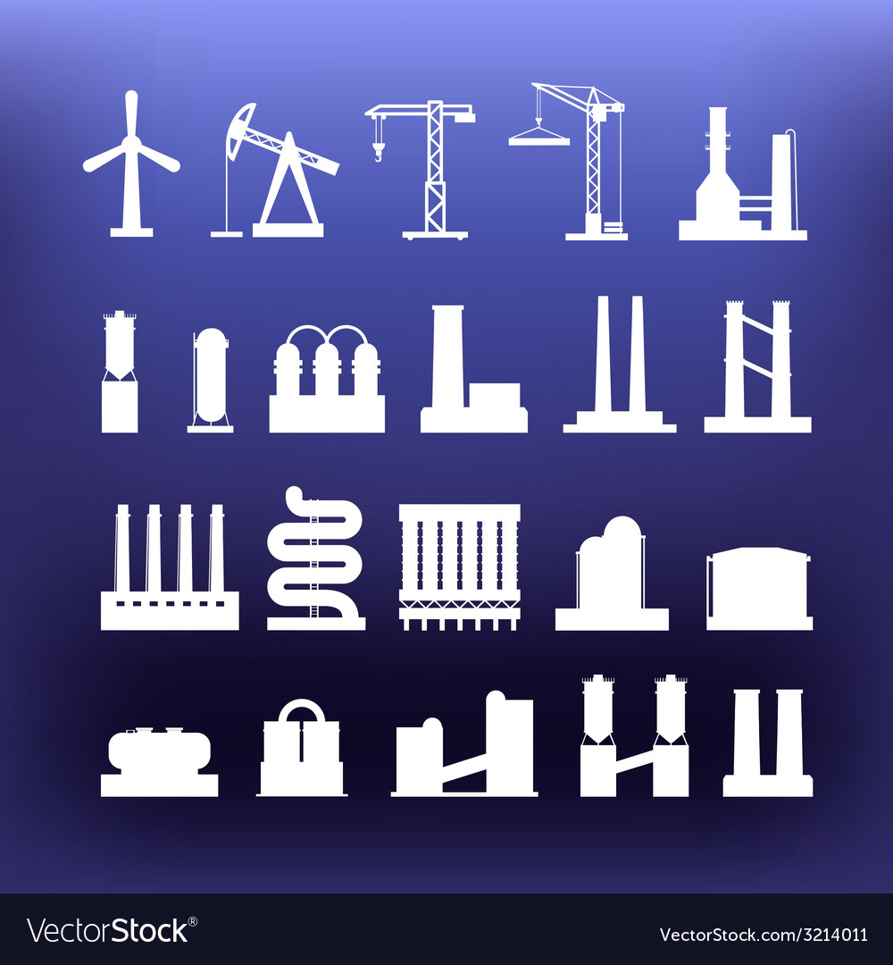 White industrial icons clip-art on color backgroun vector | Price: 1 Credit (USD $1)
