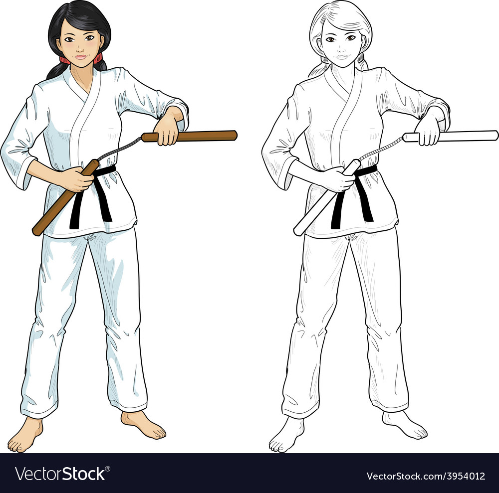 Asian nunchuck girl in karategi vector | Price: 1 Credit (USD $1)