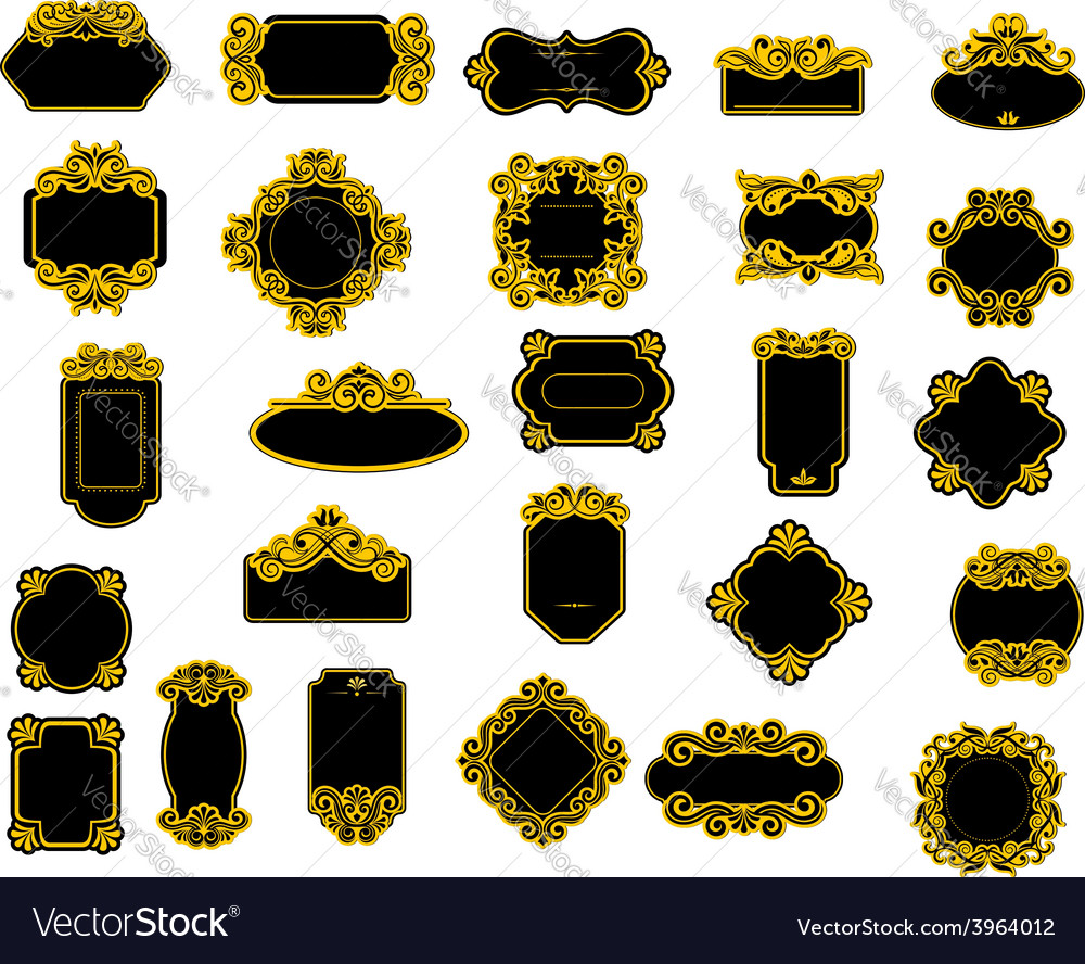 Black and yellow borders or frames vector | Price: 1 Credit (USD $1)