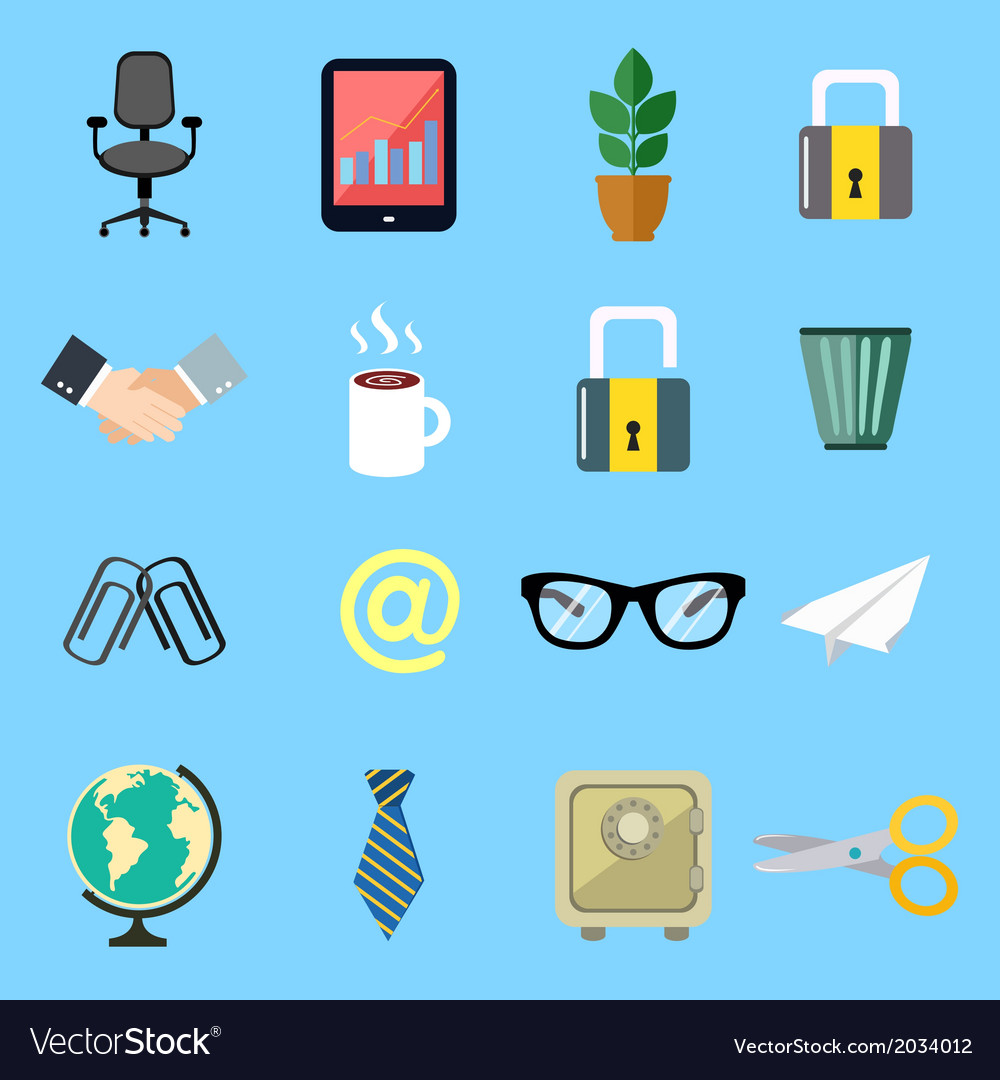 Business flat icons set vector | Price: 1 Credit (USD $1)