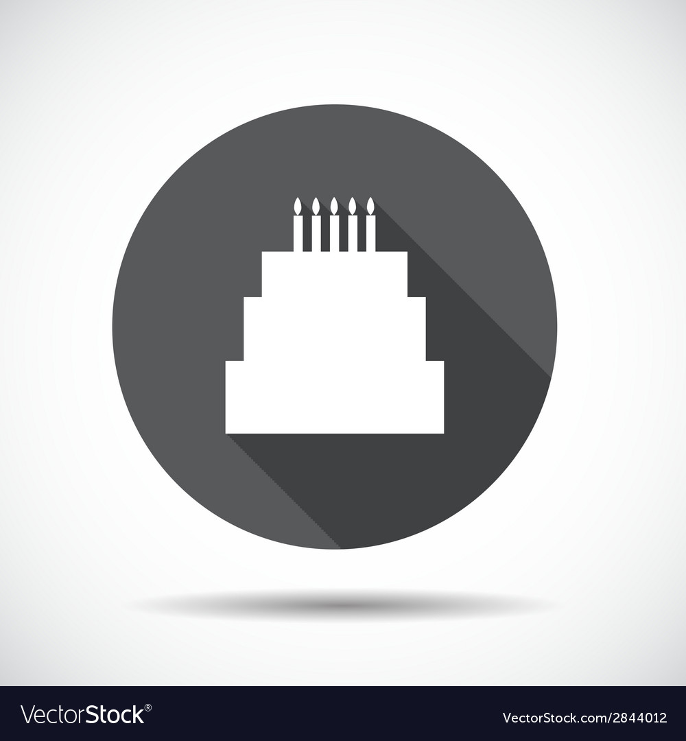Cake flat icon with long shadow vector | Price: 1 Credit (USD $1)