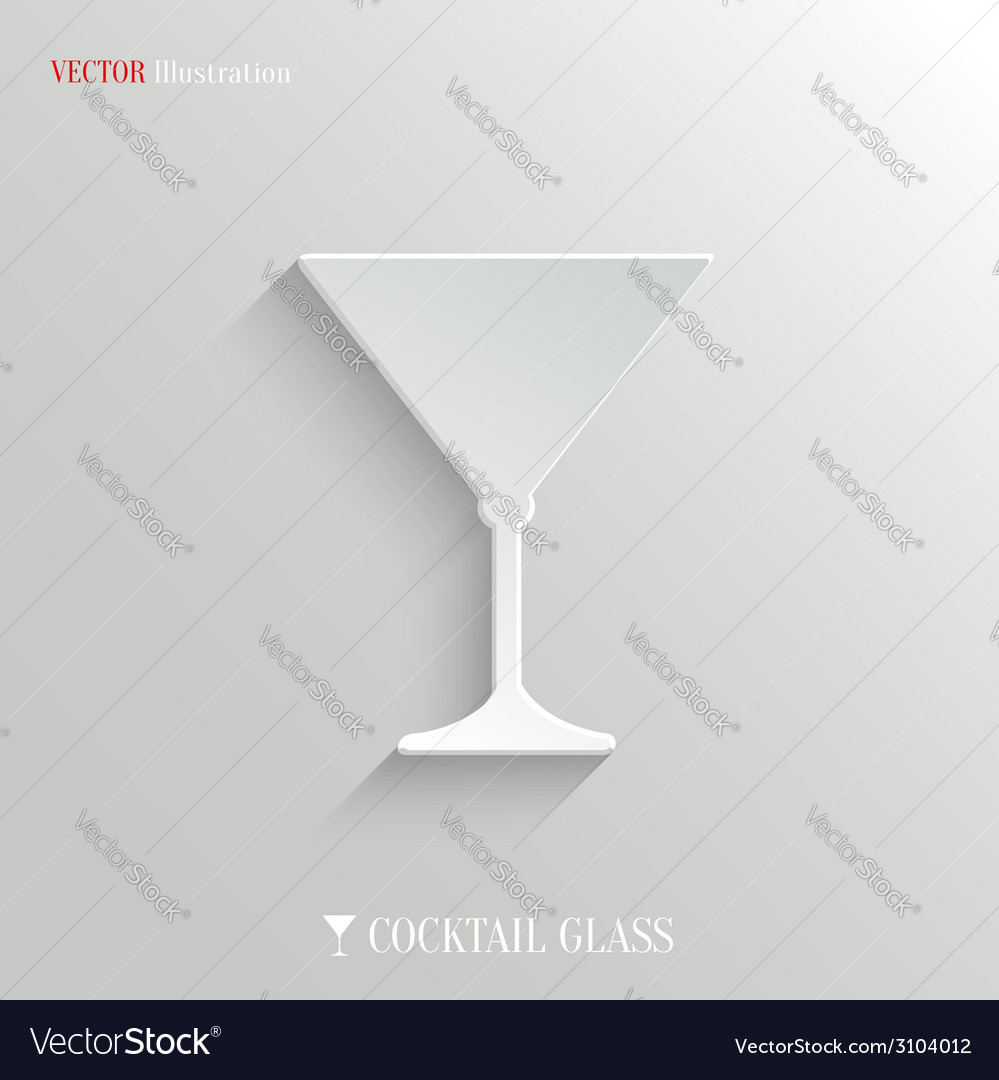 Cocktail glass icon  white app button vector