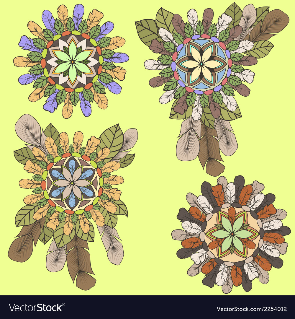 Collection of mandalas of feathers and leaves in vector | Price: 1 Credit (USD $1)