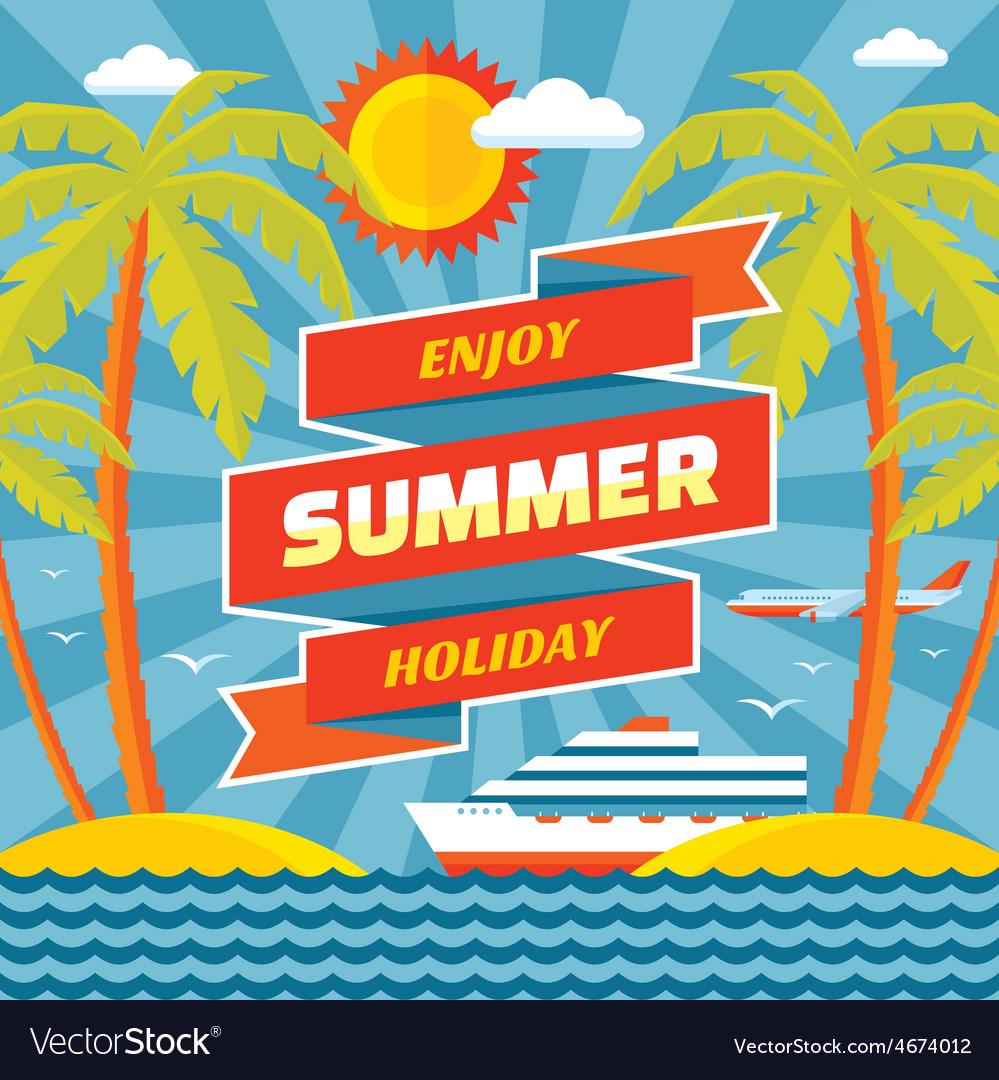Enjoy summer holiday - concept banner vector | Price: 1 Credit (USD $1)