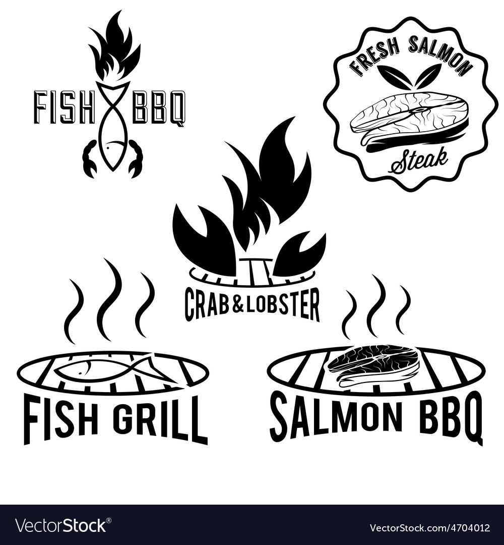 Fish and seafood bbq set vector | Price: 1 Credit (USD $1)