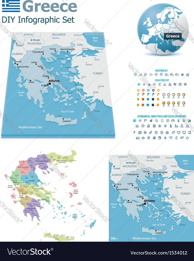Greece maps with markers vector | Price: 3 Credit (USD $3)