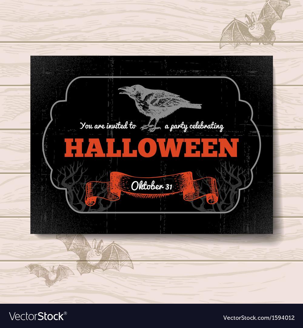 Hand drawn vintage halloween invitation vector | Price: 1 Credit (USD $1)