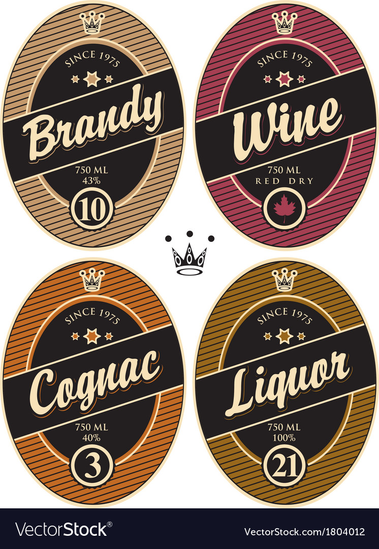 Labels for alcohol vector | Price: 1 Credit (USD $1)