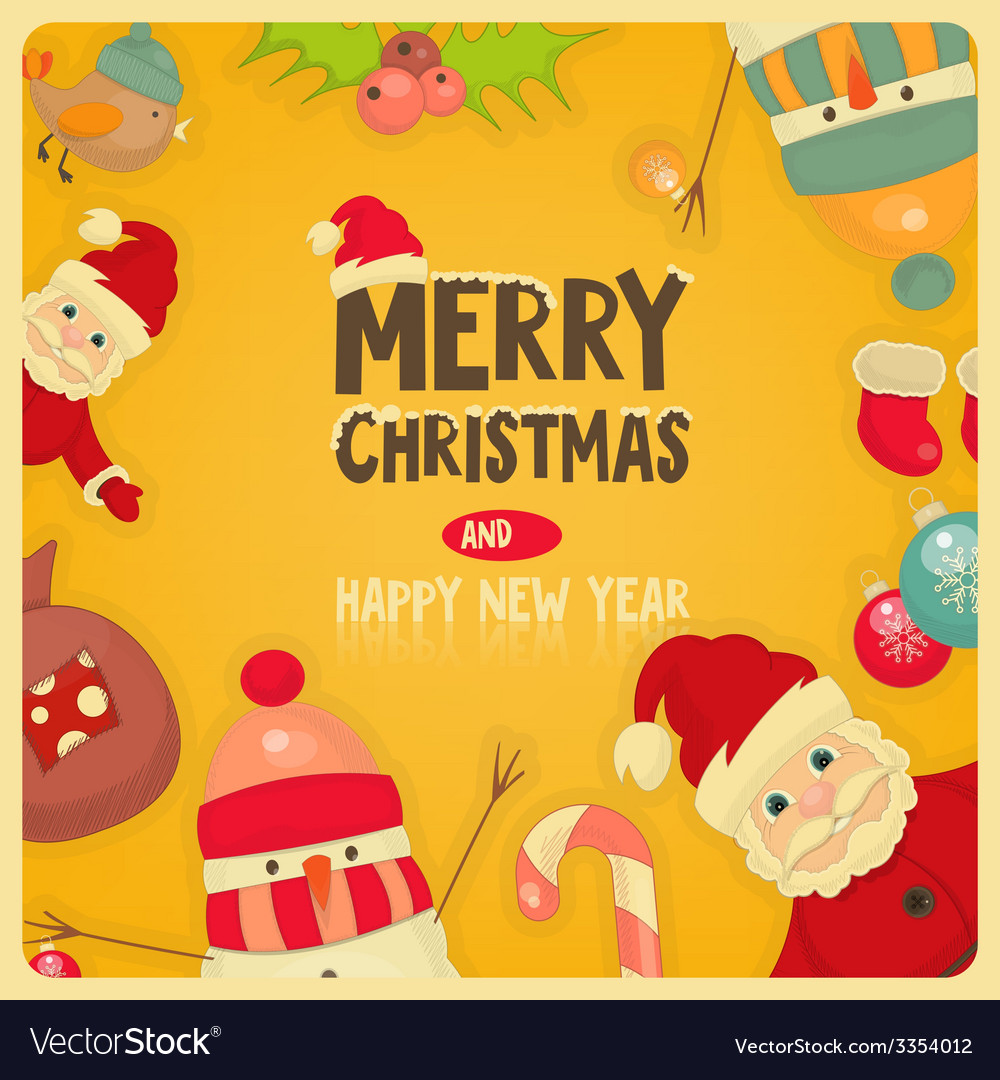Retro merry christmas and new years card vector | Price: 1 Credit (USD $1)