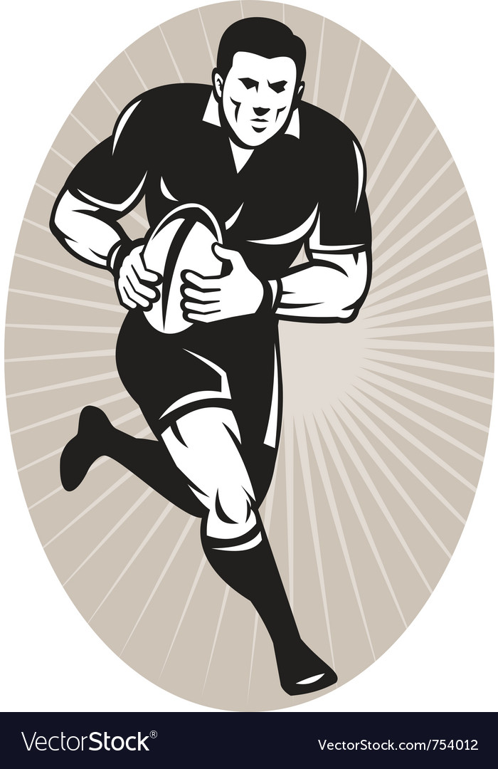 Rugby player wearing all black running with b vector | Price: 1 Credit (USD $1)