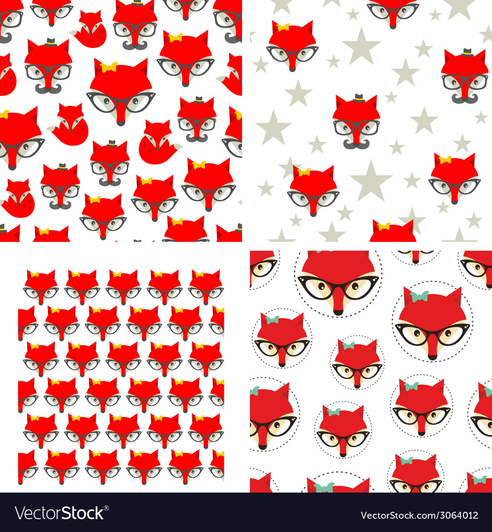 Set of seamless pattern with cute foxes vector | Price: 1 Credit (USD $1)