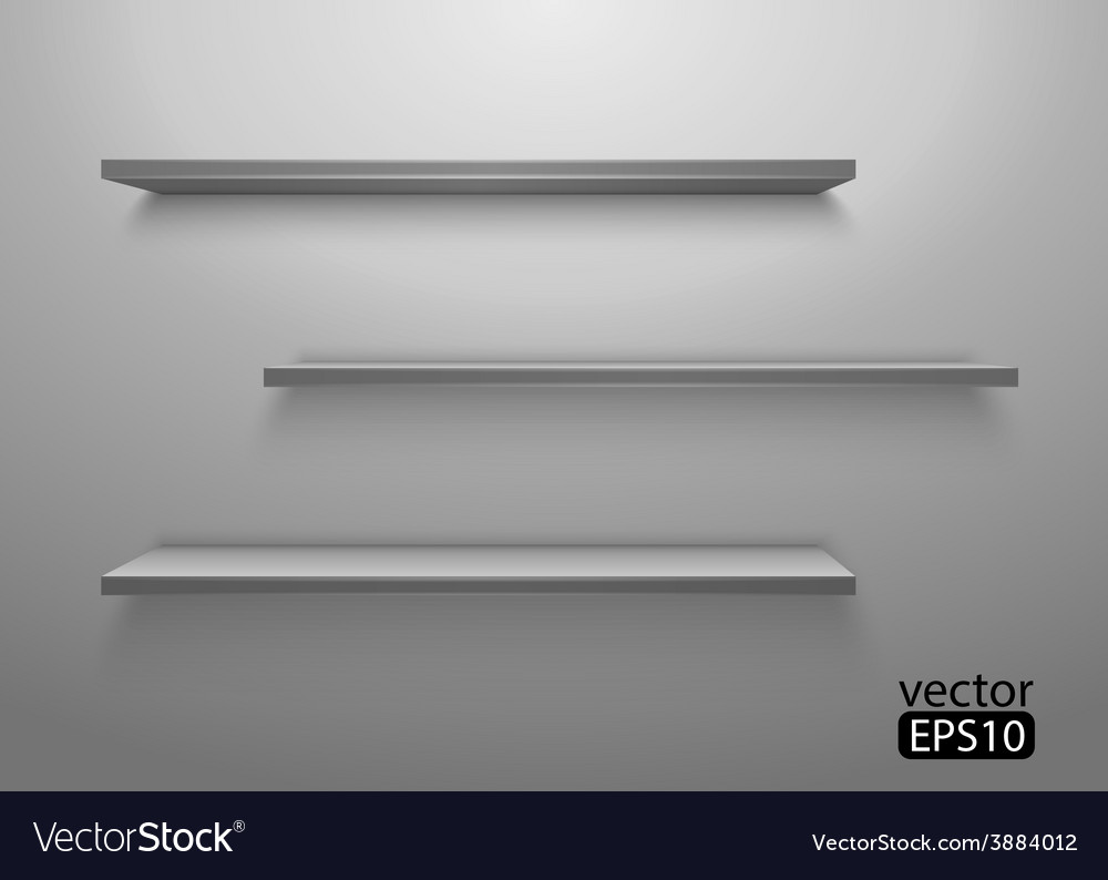Three shelves on the wall vector | Price: 1 Credit (USD $1)