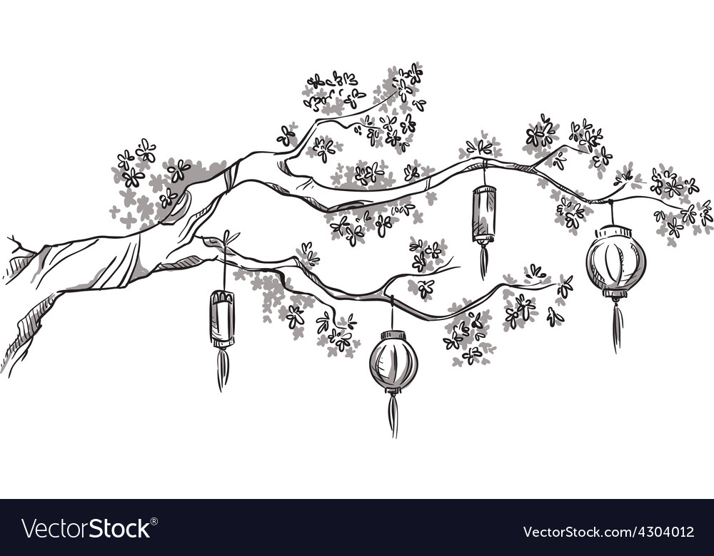 Tree branch with chinese lanterns vector