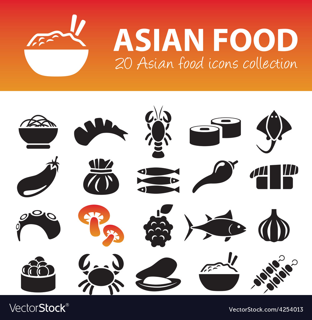 Asian food icons vector   Price: 1 Credit (USD $1)