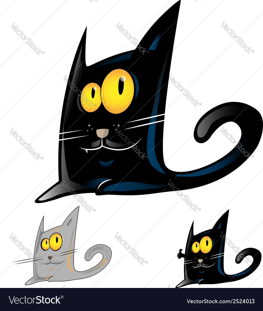 Black cat cartoon vector | Price: 1 Credit (USD $1)