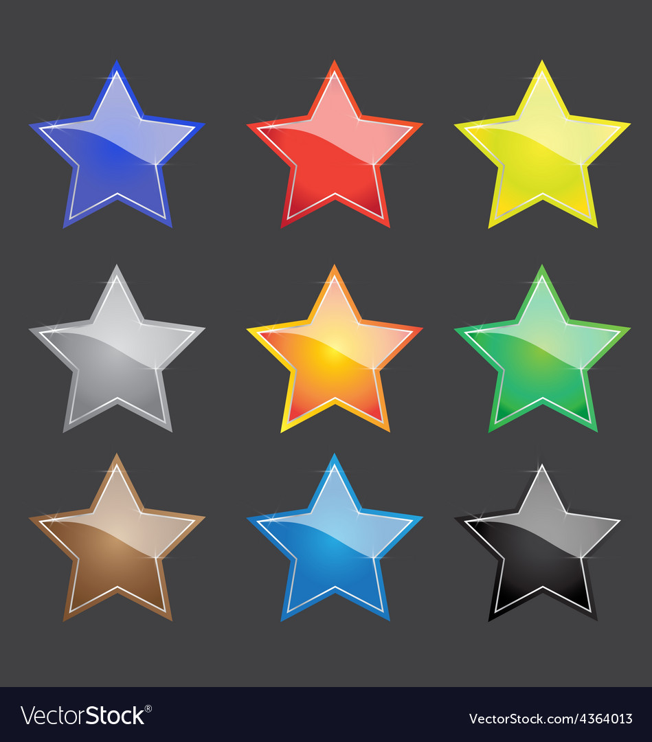 Color star button with sparkle vector | Price: 1 Credit (USD $1)