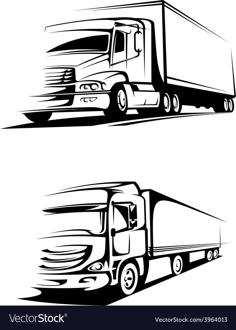 Container trucks in silhouette style vector | Price: 1 Credit (USD $1)