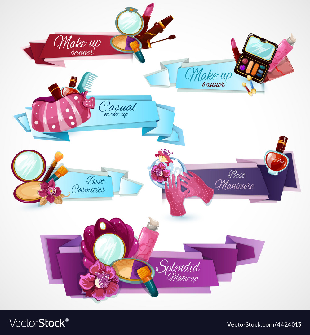 Cosmetics banner set vector | Price: 1 Credit (USD $1)