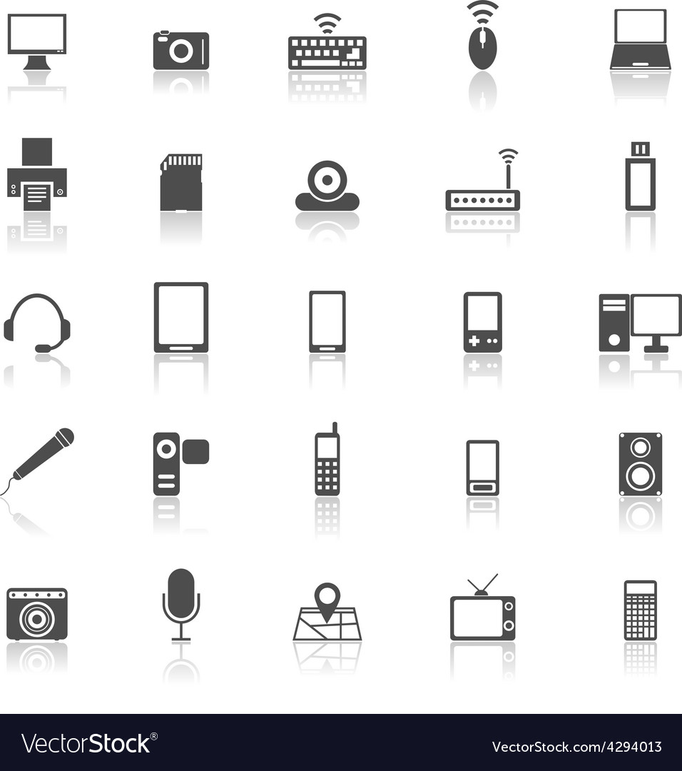 Gadget icons with reflect on white background vector | Price: 1 Credit (USD $1)