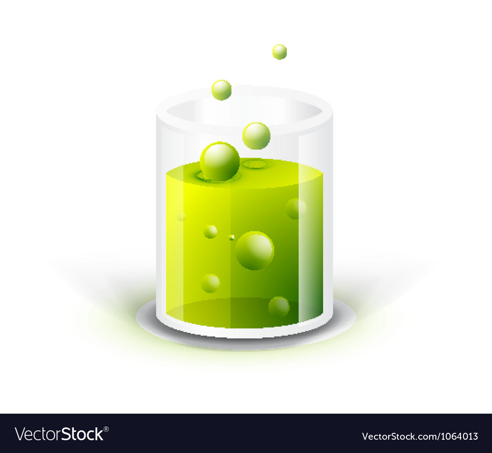 Glass vessel with green fluid vector | Price: 1 Credit (USD $1)