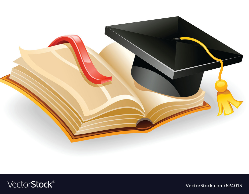 Graduation cap and open vector | Price: 3 Credit (USD $3)