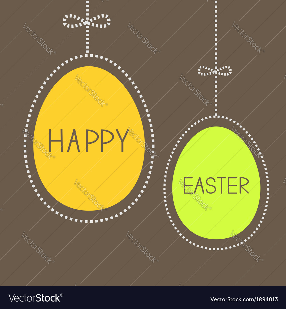 Hanging easter eggs with dash line and bow brown vector | Price: 1 Credit (USD $1)