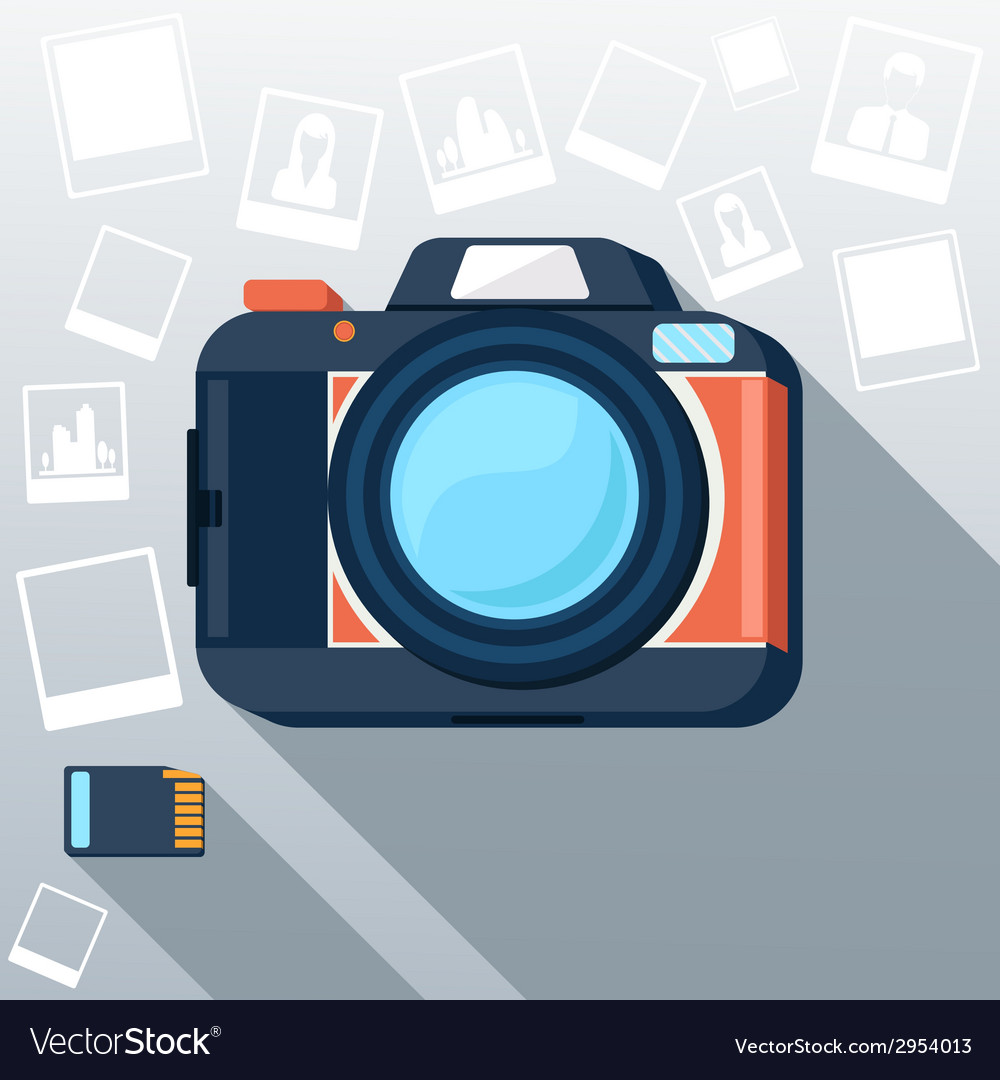 Photo camera with pictures vector | Price: 1 Credit (USD $1)