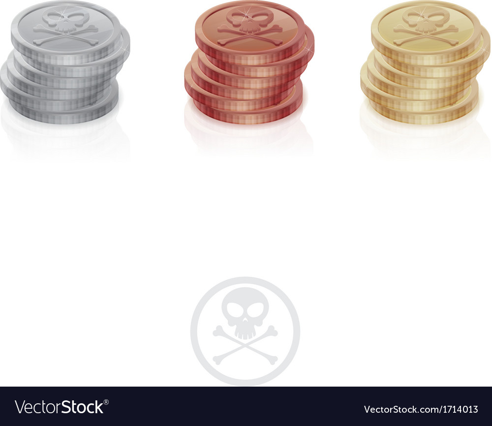 Pirate coins one column vector | Price: 1 Credit (USD $1)