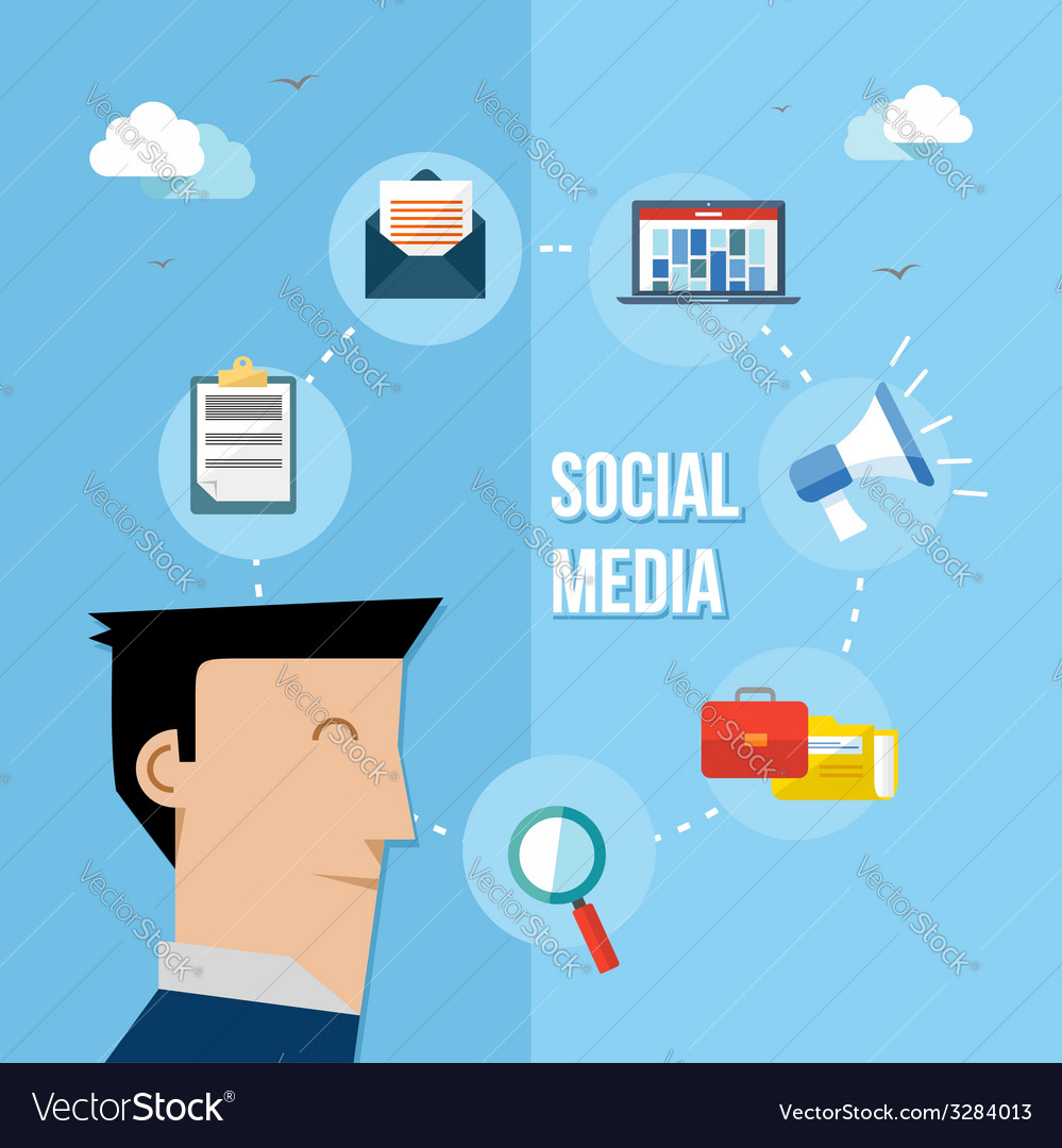 Social media network flat vector | Price: 1 Credit (USD $1)