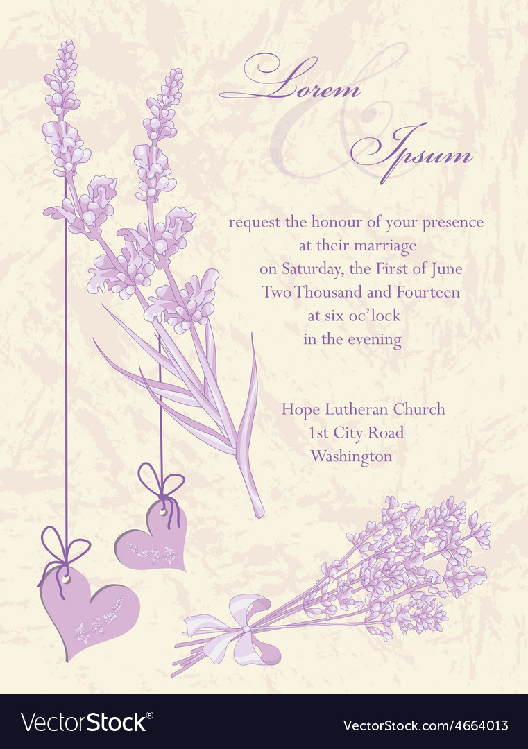 Wedding invitation card lavender background vector | Price: 1 Credit (USD $1)