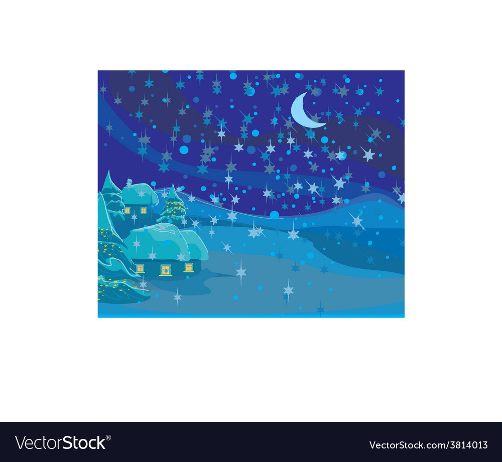 Winter landscape christmas scene vector | Price: 1 Credit (USD $1)