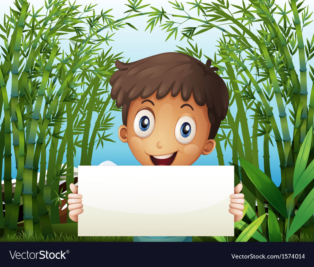 A boy at the bamboo farm holding an empty signage vector | Price: 3 Credit (USD $3)