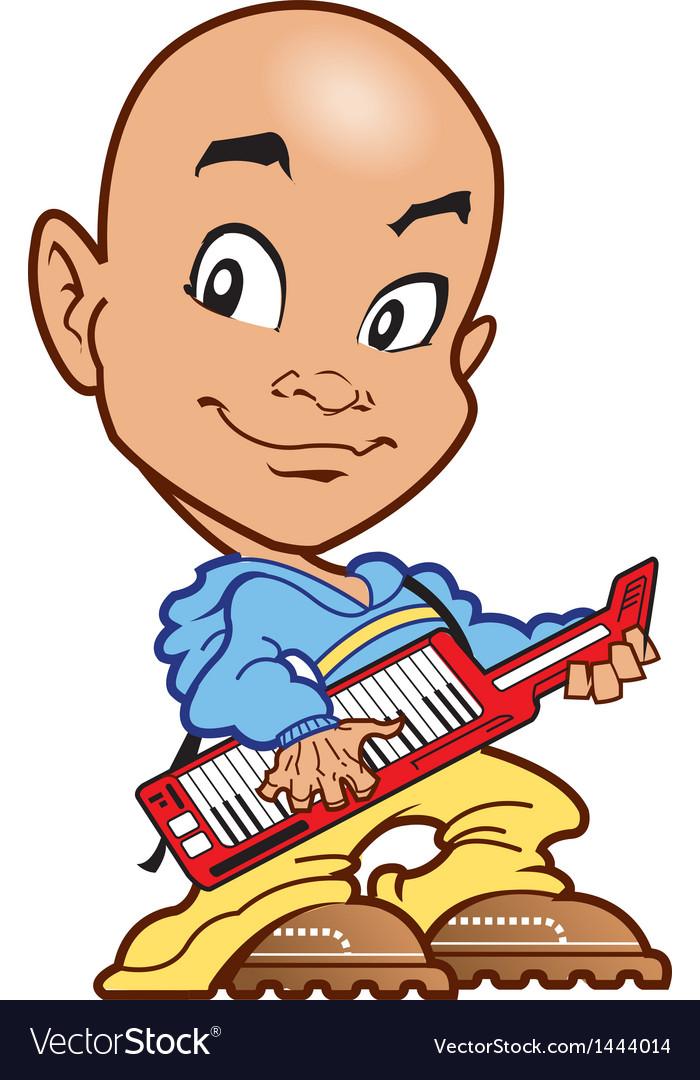 Bald keyboard player vector | Price: 1 Credit (USD $1)