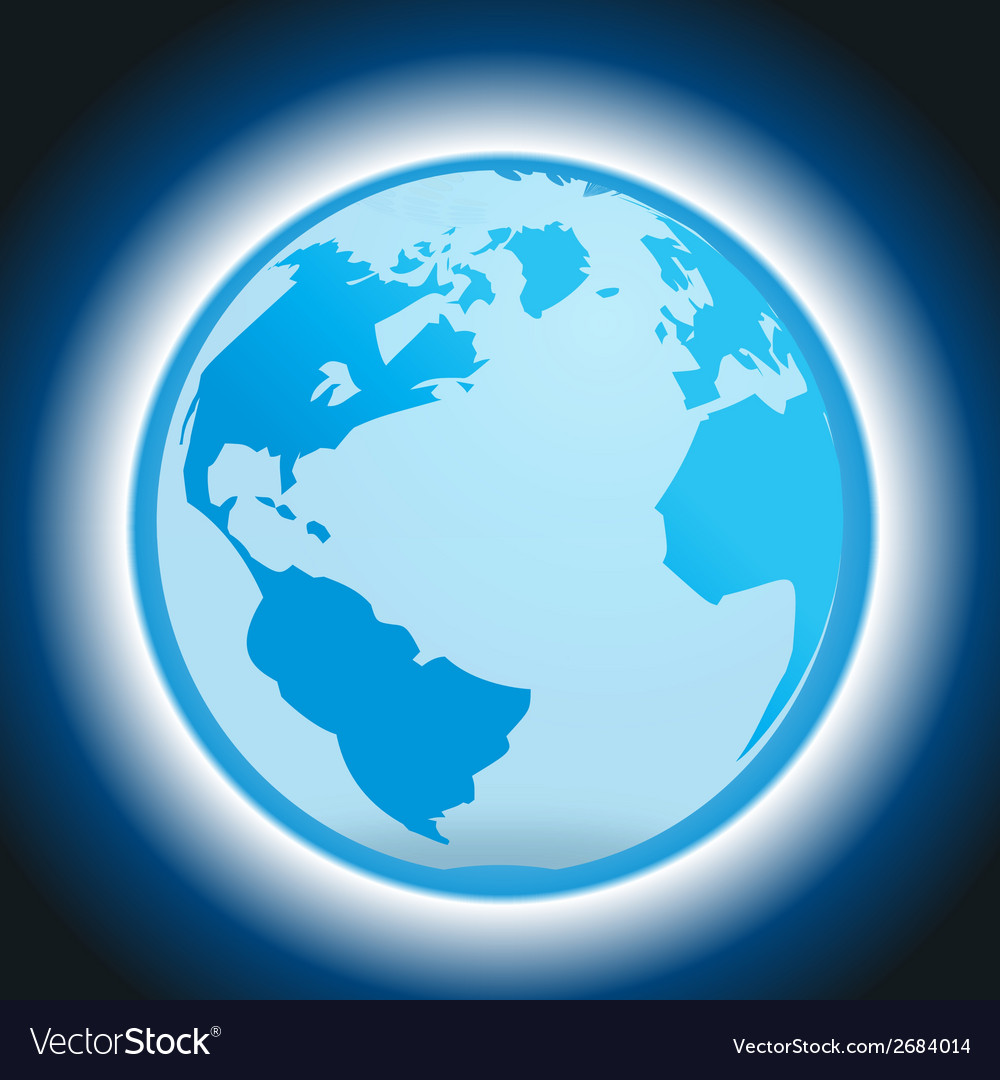 Dark blue background with globe and light vector | Price: 1 Credit (USD $1)