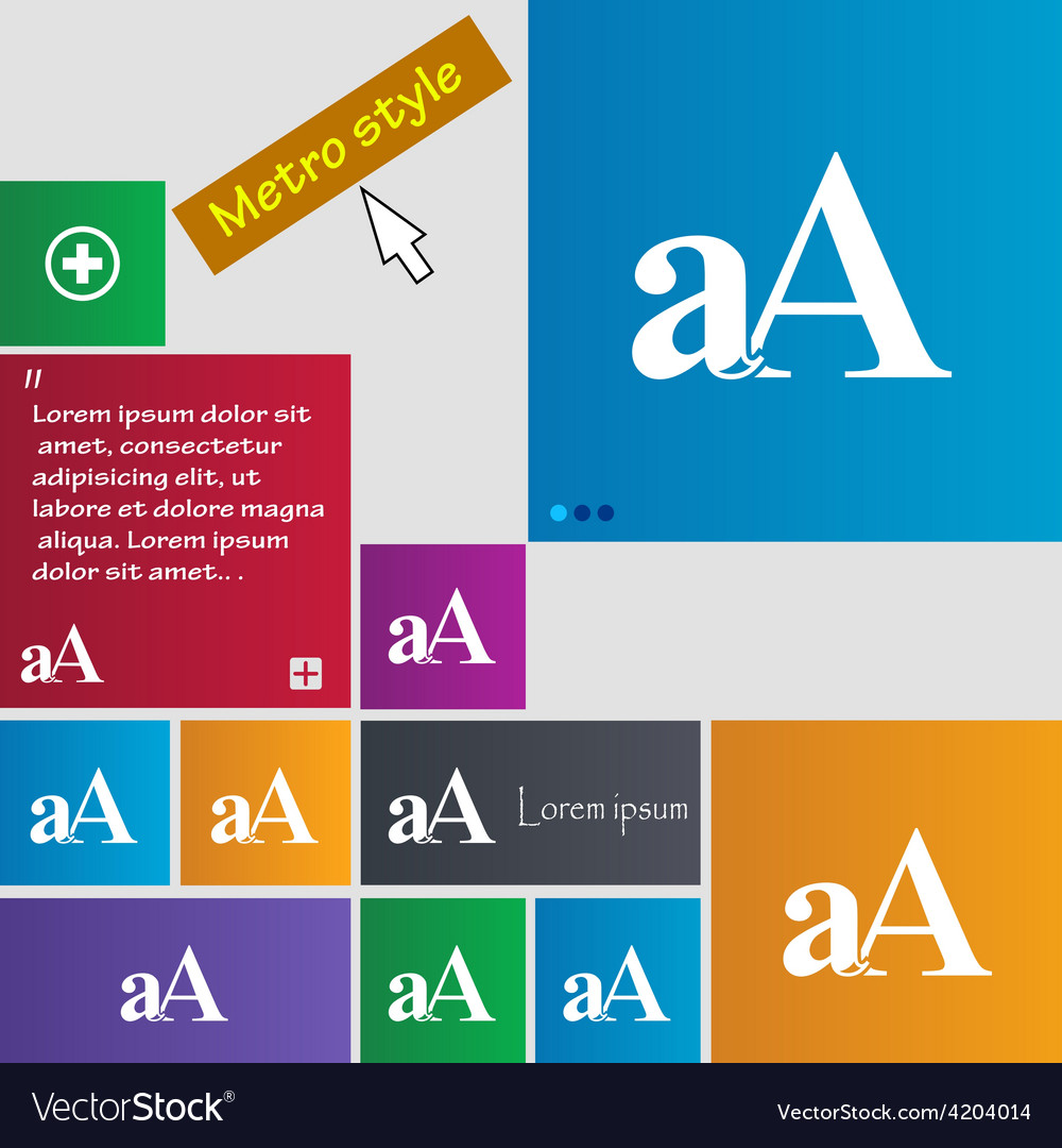 Enlarge font aa icon sign metro style buttons vector | Price: 1 Credit (USD $1)